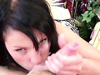 blowjob brunette close-up at Xnxx